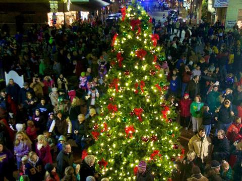 Festlich geschmückter Weihnachtsbaum in Bardstown, Kentucky