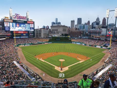 Heimspiel der Detroit Tigers im Comerica Park